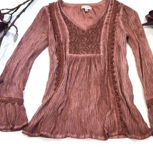 Knox Rose Bohemian Long Sleeve Lace detail Blouse